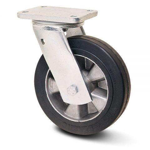 Екстра тежкотоварните Индустриални Въртящо се колело за колички Трайно еластична черна гума с Алуминий джанта  и Двоен сачмен лагер Планка