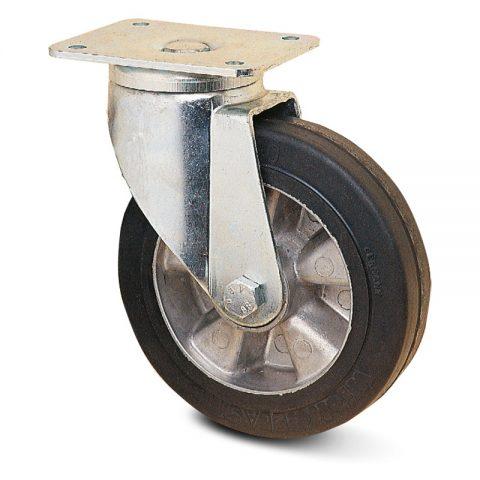 тежкотоварни Индустриални Въртящо се колело за колички Трайно еластична черна гума с Алуминий джанта  и Двоен сачмен лагер Планка