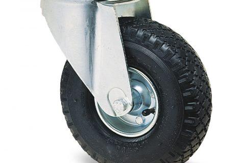 поцинкована Индустриални Въртящо се колело за колички Пневматична черна гуме с Метална джанта и Ролков лагер Планка