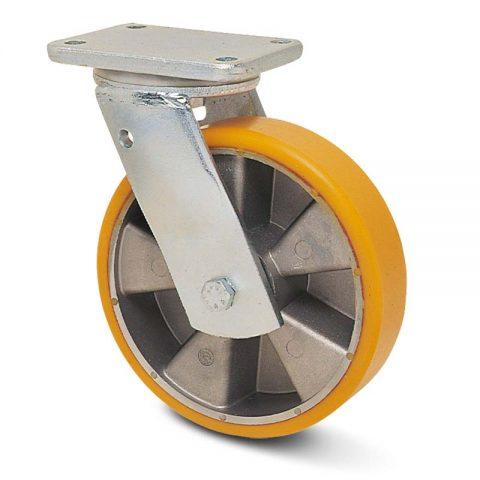 Екстра тежкотоварните Индустриални Въртящо се колело за колички Полиуретан с Алуминий джанта  и Двоен сачмен лагер Планка