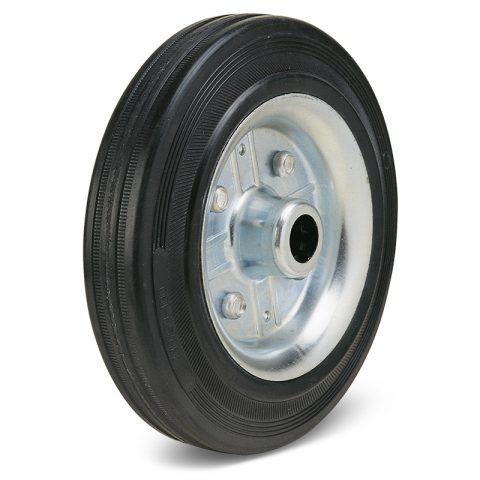 Колелo за колички Черна гума с Метална джанта и Ролков лагер
