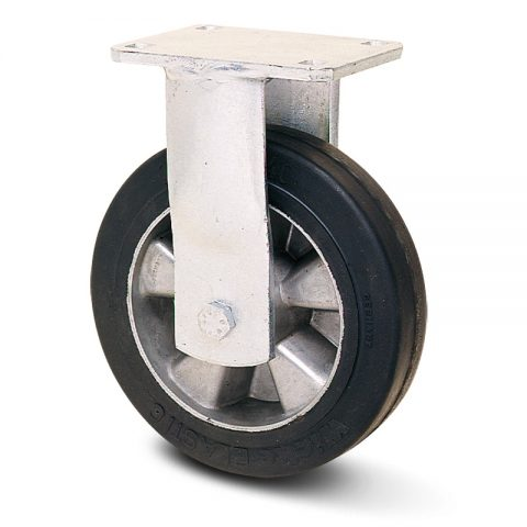 Екстра тежкотоварните Индустриални  Фиксирано колело за колички Трайно еластична черна гума с Алуминий джанта  и Двоен сачмен лагер Планка